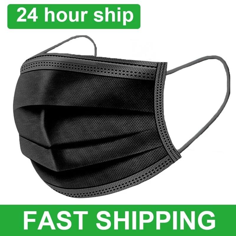 Máscara protetora não tecida descartável de 10-200 pces 3 camadas filtro anti poeira smog respirável máscara de gaze preto adulto rosto máscaras de boca