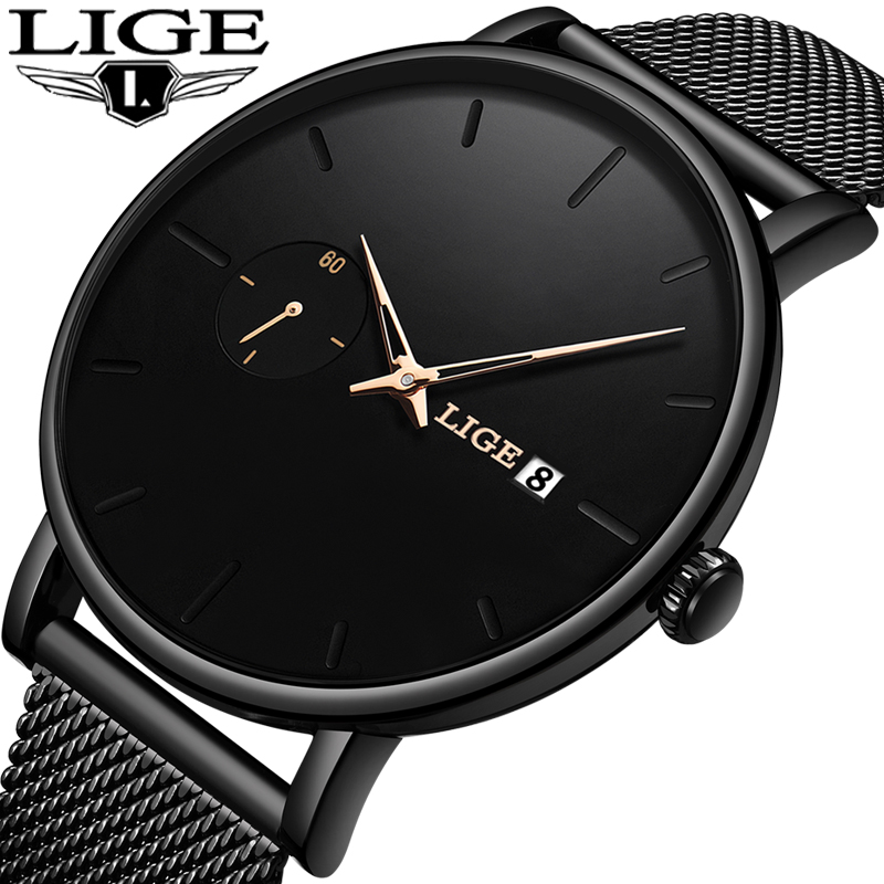LIGE Watch Women And Men Watch Top Brand Luxury Famous Dress Fashion Watches Unisex Ultra Thin Wristwatch Relojes Para Hombre