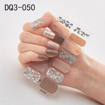 14pcs/sheet Glitter Gradient Color Nail Stickers Nail Wraps Full Cover Nail Polish Sticker DIY Self-Adhesive Nail Art Decoration 34