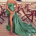 Зеленое вечернее платье-Русалка с высоким разрезом, пикантные эластичные атласные длинные официальные платья без бретелек, 2021, плиссирован...