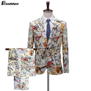 Men's Printed Suit 2 Pieces Retro Vintage Blazer For Men Red Lips Letters Pattern Hip Hop Mens Prom Suits Love New Paper Stamp Men's Fashion
