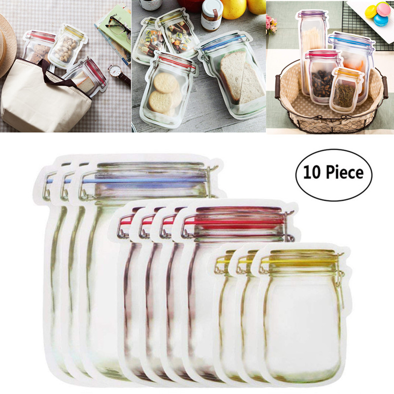 Outdoor Tool Camping Food Storage Bags Waterproof 10Pcs Reusable Mason Jar Bottle Bags Snacks Zipper Sealed Organizer For Travel