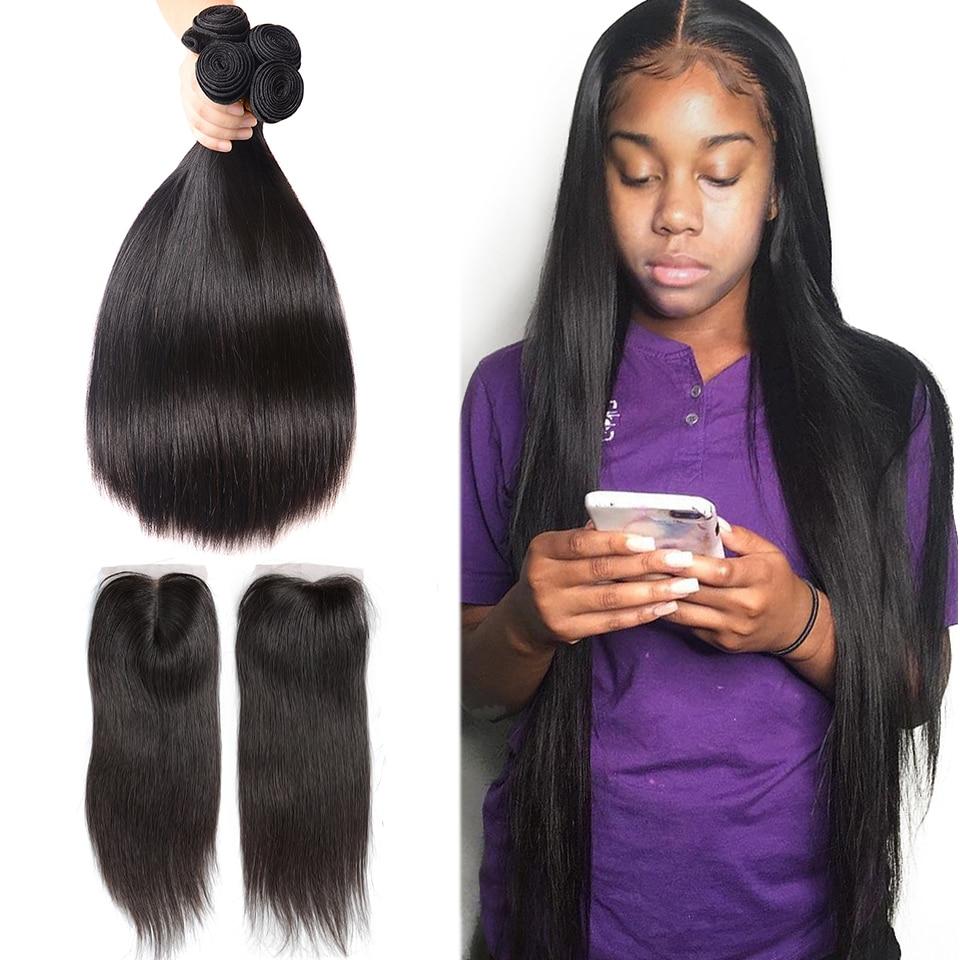 Fashow пряди человеческих волос с застежкой Remy бразильские волосы 3 пряди с застежкой прямые волосы с 4X4 швейцарской кружевной застежкой