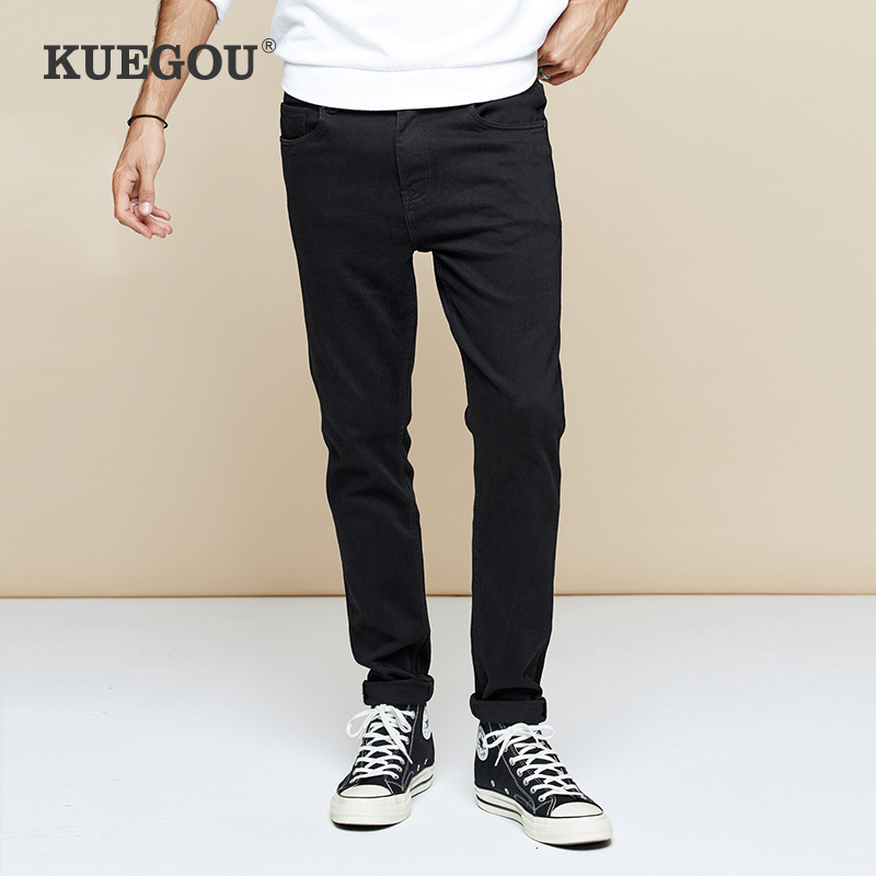KUEGOU 2019 Autumn Cotton Black Skinny Jeans Men Streetwear Brand Slim Fit Denim Pants For Male Hip Hop Stretch Trousers 2957