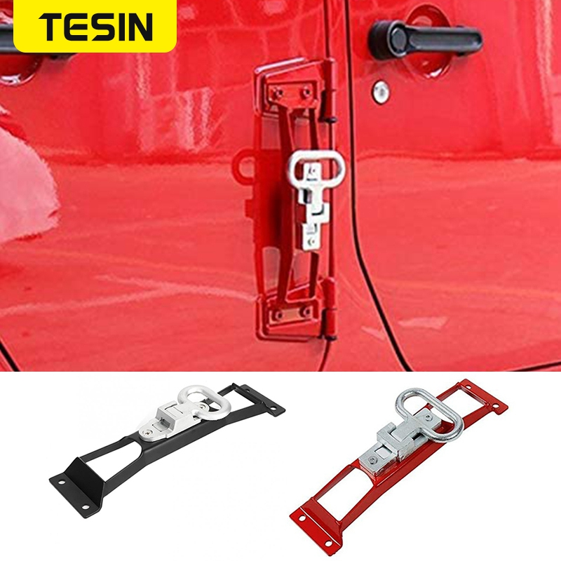 TESIN Metal Hinge Foot Step Pedals Plate Exterior Folding Foot Rest Pedal Pegs For Jeep Wrangler JK 2007-2017 Car Accessories
