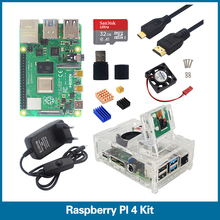 S ROBOTER Raspberry Pi 4 kit 1/2/4GB RAM mit Acryl Fall 5MP Kamera 3A Power versorgung Kühlkörper für Raspberry Pi 4 Modell B RPI5