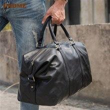 PNDME casual high quality genuine leather men hand travel bag designer real cowhide large capacity black shoulder luggage