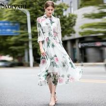 Svoryxiu Runway Designer Summer Long Dress Women's Elegant Bow Collar Rose Flower Print Bohemian Holiday Chiffon Dresses