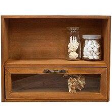 Caja de gabinete de madera organizador de almacenamiento cajón de vidrio Vintage acabado almacenamiento Retro acabado caja de almacenamiento 30x12x24cm