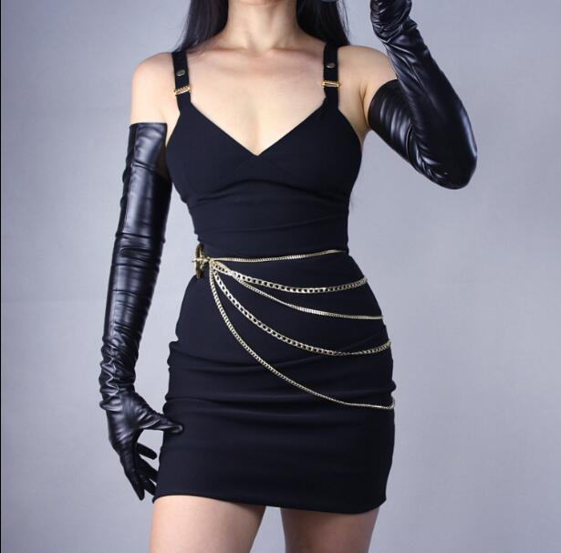 Women's Ultra Long Faux Patent Leather PU Leather Long Design Fashion Black Color 40cm, 50cm, 60cm, 70cm Length R598
