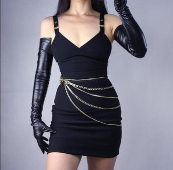 Women's ultra long faux patent leather PU design fashion black color 40cm, 50cm, 60cm, 70cm length R598 - discount item  12% OFF Gloves & Mittens