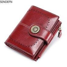 Женский и мужской кожаный короткий кошелек sendefn маленький