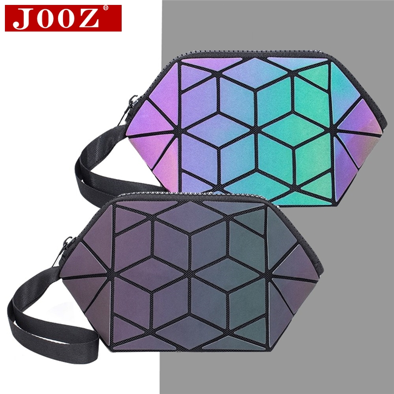 JOOZ Women 's Mini Clutch Geometry Plaid Luminous Cosmetic Bag Lady' S Wrist Folding Storage Clutch High Quality Hand Bags