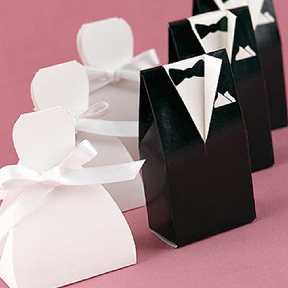 100Pcs Bride Dress Groom Suit Candy Gift Boxes Case Ribbon DIY Party Supplies