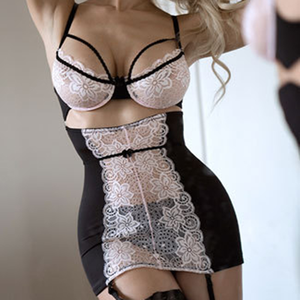 Sexy Lace Solid Lingerie Women G-string Hot Erotic Babydoll Sleepwear Robe Sexy Underwear Dress Sex Costumes XXL Plus Size Porn image