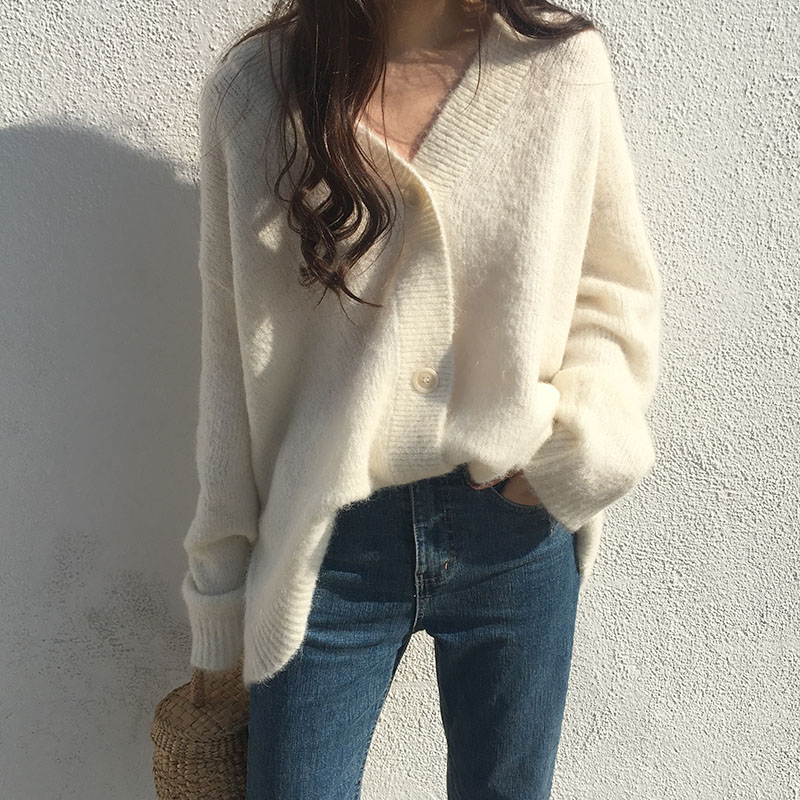 Yocalor Fashion Women Winter Solid Mohair Cardigan Sweater Soft Knitted Oversize Batwing Sleeve Single Breasted Casual Top