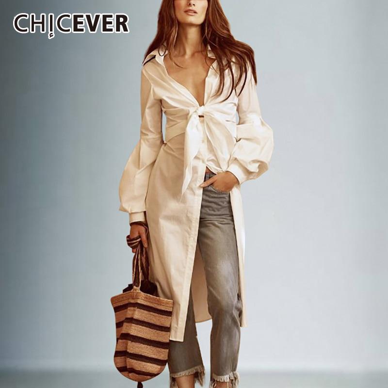 CHICEVER Sexy Bowknot Irregular Shirts Female Lace Up Tunic Deep V Neck Lantern Sleeve White Shirt 2020 Spring Fashion Clothing