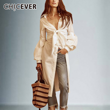 CHICEVER Sexy Bowknot Irregular Shirts Female Lace Up Tunic Deep V Neck Lantern Sleeve White Shirt 2020 Spring Fashion Clothing