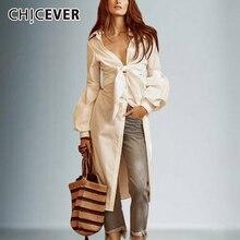 قمصان CHICEVER المثيرة ذات فيونكة غير منتظمة للنساء ذات رباط علوي تونك بياقة واسعة على شكل V وأكمام واسعة قميص أبيض موضة ربيع 2020 ملابس