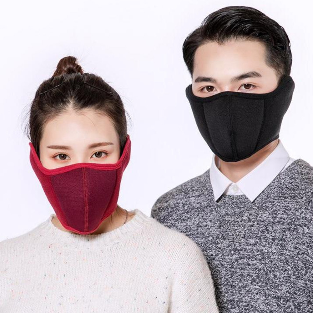 Windproof Plush Mask For Women Men Warming Breathable Half Face Masks Winter Sports  Riding Cycling TT@88