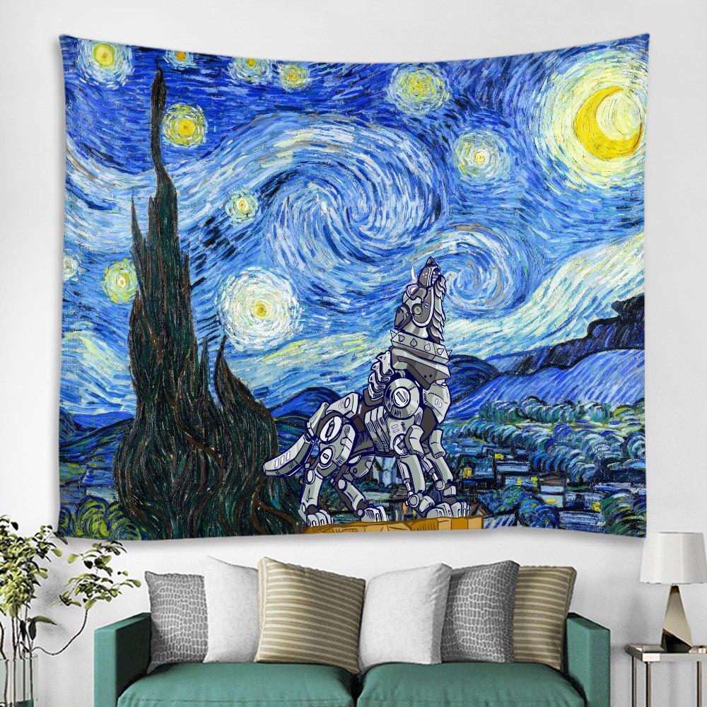 Ван Гог Картина маслом робот собака гобелен Праздничная сцена