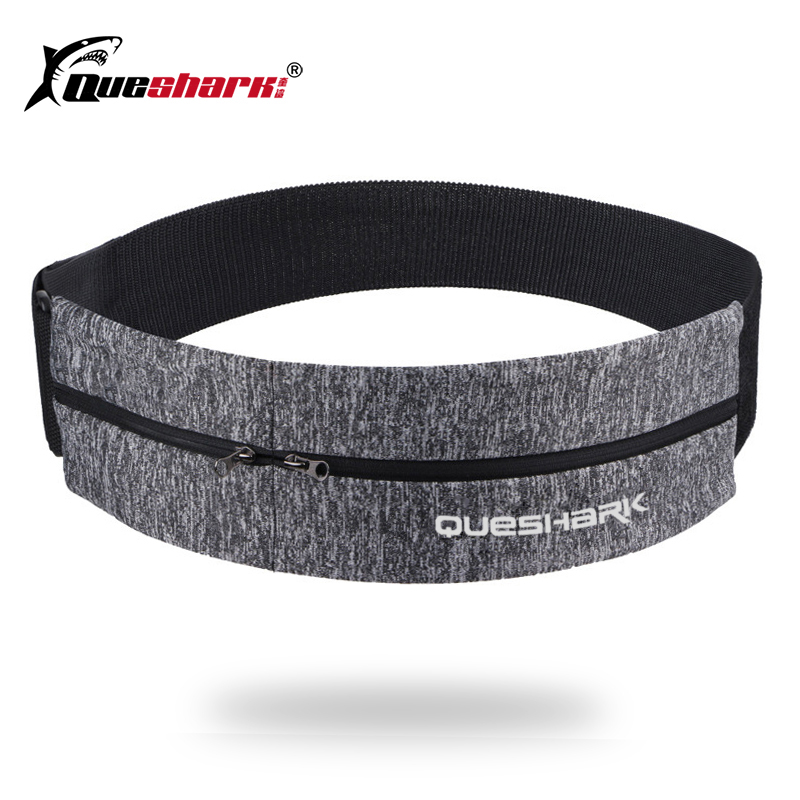 Queshark Elastic Waistband Sport Bag Double Zipper Pocket Waist Bag Running Gym Yoga Waist Belt Pack Mobile Phone Wasit Wallet