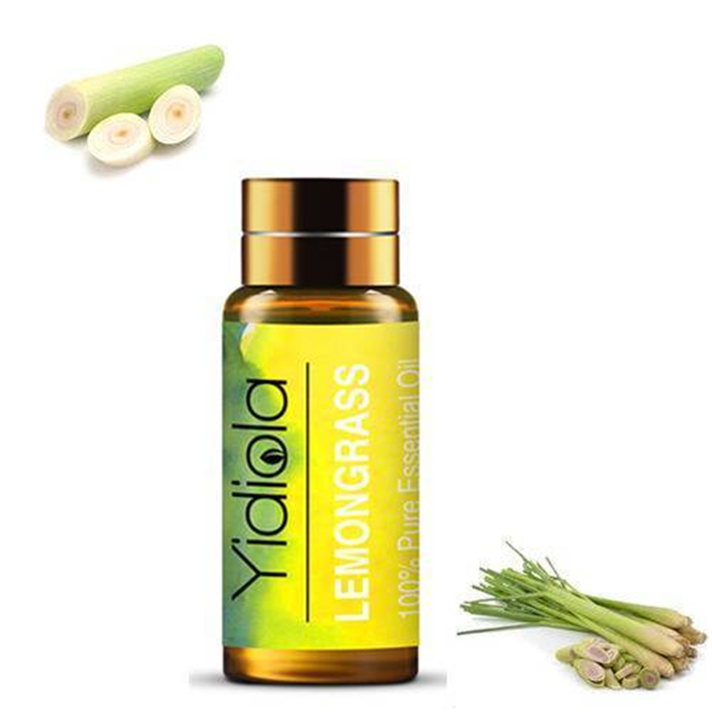 Yidiola 5ML Lemongrass Pure Essential Oils for Diffuser Aromatherapy Humidifier Relieve Stress Massage Body Care Aromatic Oil