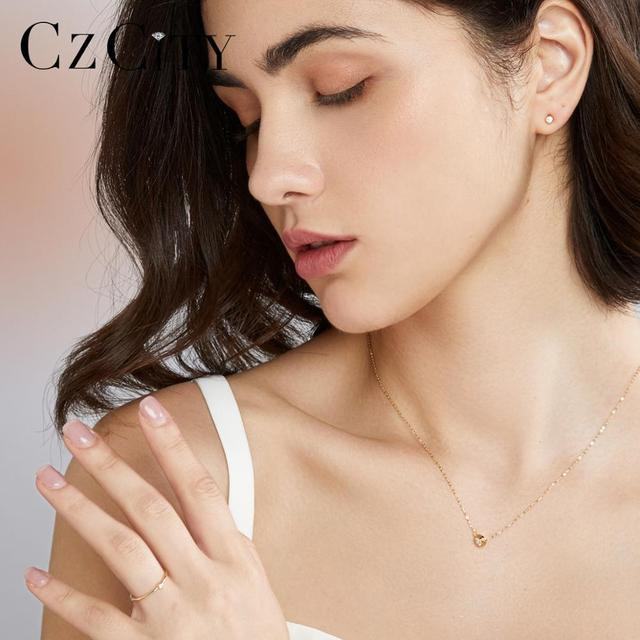 14k Gold Round Pendant Necklace with Zircon 2
