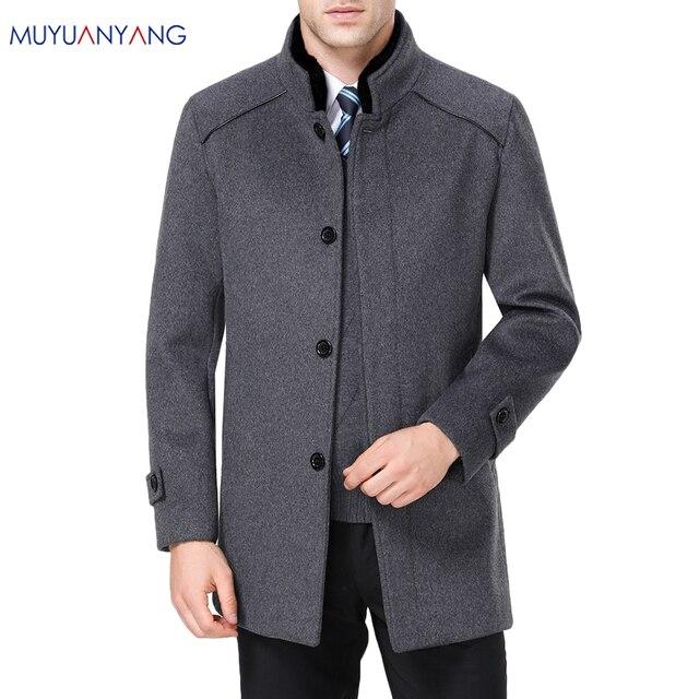 معطف رجالي طويل من الصوف ماركة Mu Yuan Yang معطف 50% من الصوف للرجال ملابس شتوية غير رسمية من الكشمير الدافئ مقاس كبير 5XL 6XL