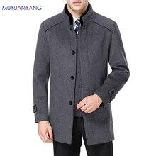 Mu Yuan Yang kalınlaşmak uzun erkek yün ceket 50% kapalı erkek yün ceket kış rahat sıcak kaşmir giyim artı boyutu 5XL 6XL