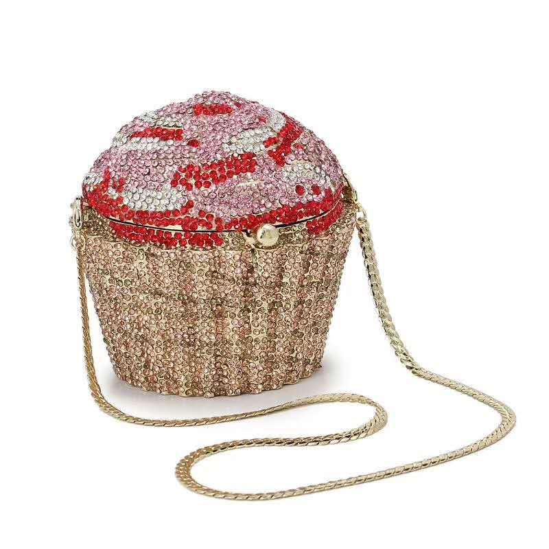 Moda feminina cupcake cristal embreagem sacos de