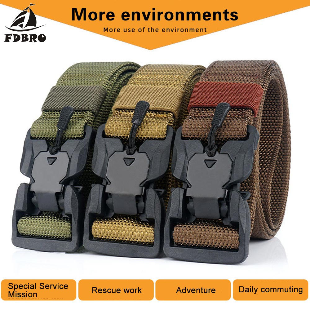 H344d78d895894871828793a203793ad9a - FDBRO Tactical Belt  Magnetic Buckle Adjustable Nylon Military Belt for Man Outdoor Hunting Training Accessories Utility Belt