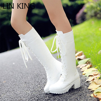 LIN KING Big Size 48 Retro Warm Plush Women Lace Up Long Boots Solid Winter Knee Hign Boots Slim Square Heel Lady Platform Boots дутики king boots king boots mp002xw0zwfn