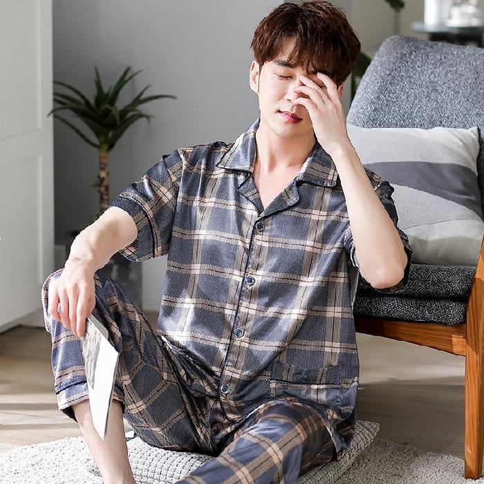 New Summer Men's Simulation Silk Pajamas Ice Silk Plaid Print Loose Plus Size Home Service Two-piece Suit Pijama Hombre Verano