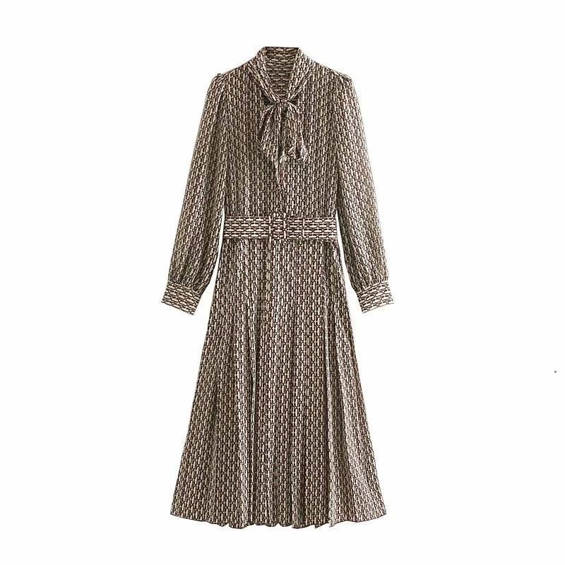 Women Elegant Long Dress With Belt Chain Print Bow Tie Neck Office Lady Shirt Dress Puff Long Sleeve Pleated Dress Vestidos