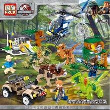 лучшая цена Jurassic World 2 Building Blocks Dinosaurs Figures Bricks Tyrannosaurus Rex Indominus Rex I-Rex Assemble Kids Toys For Children