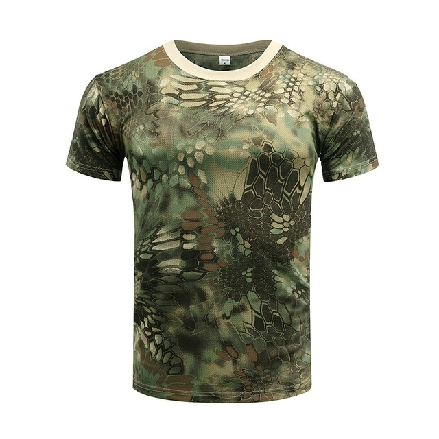 Camouflage Tactical Shirt Short Sleeve Men's Quick Dry Combat T-Shirt Military Army T Shirt Camo Outdoor Hiking Hunting Shirts 4