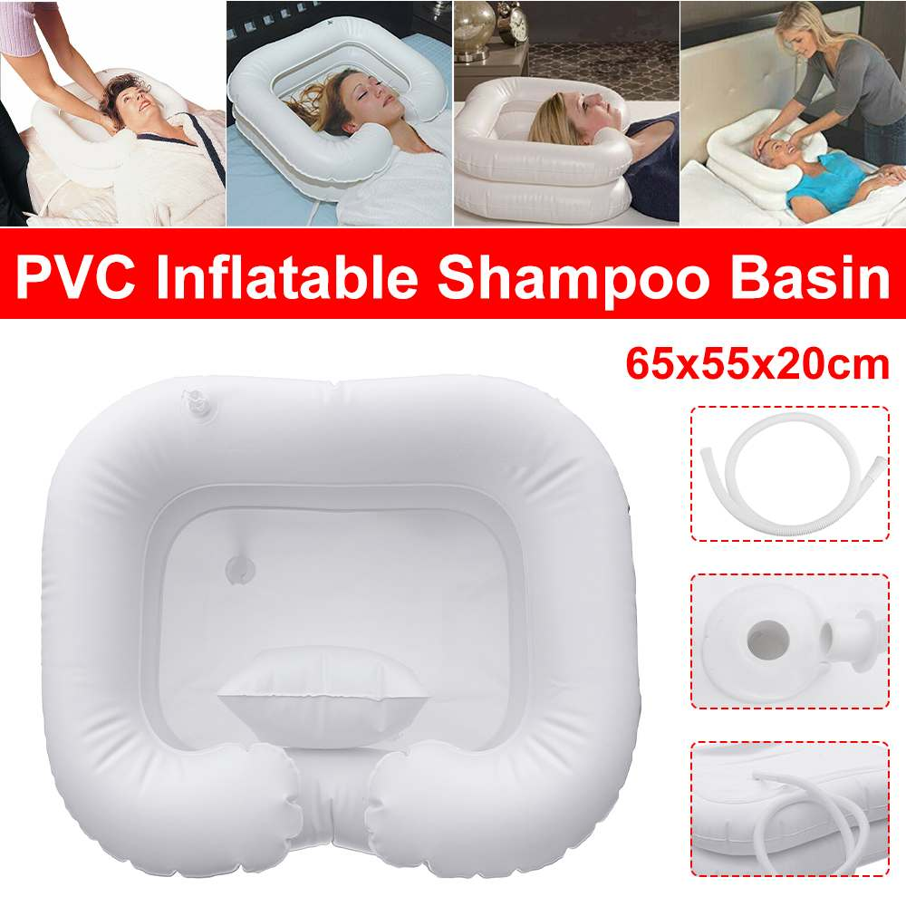 Inflatable Shampoo Basin Tub With Pillow Portable Hair Washing Basin Inflatable Sink Washbasin For Travel Disabled 65x55x20cm