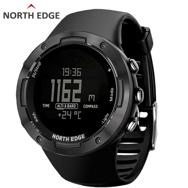 Мужские спортивные часы NORTH EDGE, водонепроницаемые цифровые часы для бега, плавания, 50 альтиметров, барометр, компас, прогноз погоды