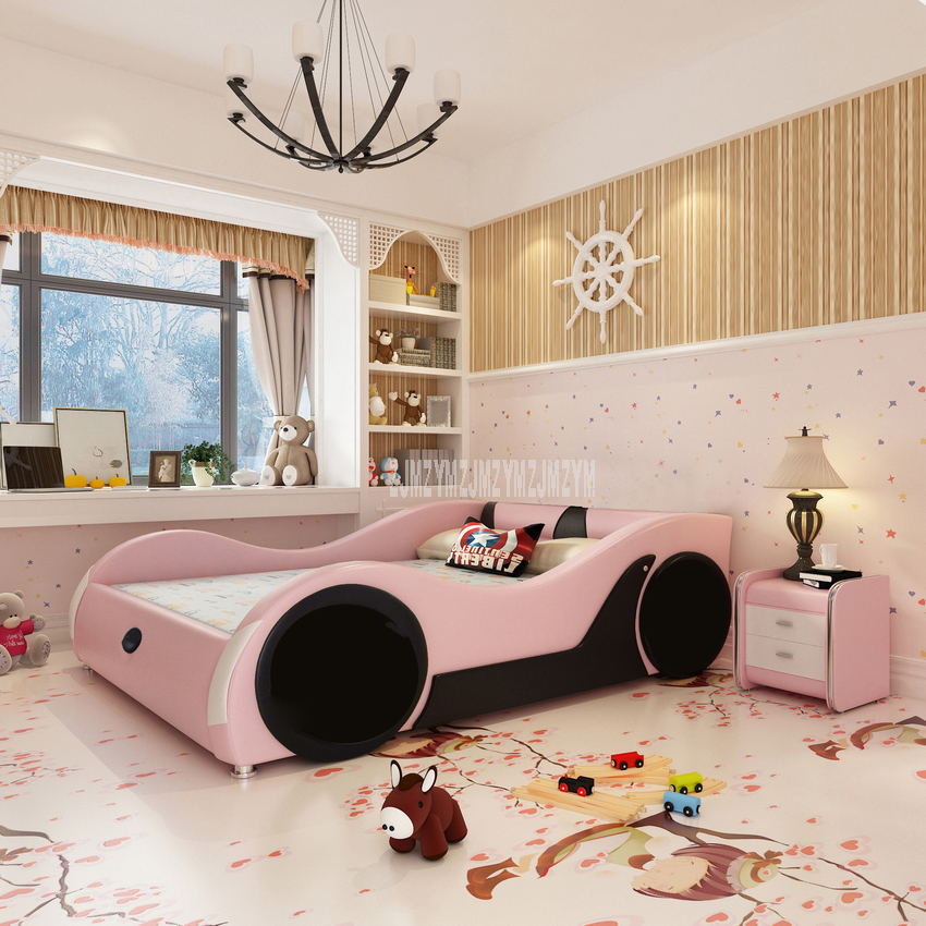 Cute 1.2m/1.5m/1.8m Car Design Children Bed With Mattress Bedside Cabinet Home Bed Child Bedroom Furniture Solid Wood Leather
