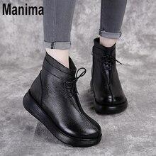 Autumn women's shoes leather boots women handmade retro flat shoes