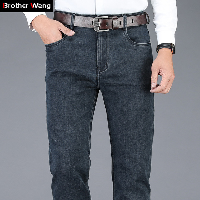 2020 New Autumn Winter Mens Stretch Jeans Business Casual Classic Style Trousers Black Gray Straight Denim Pants Male Brand