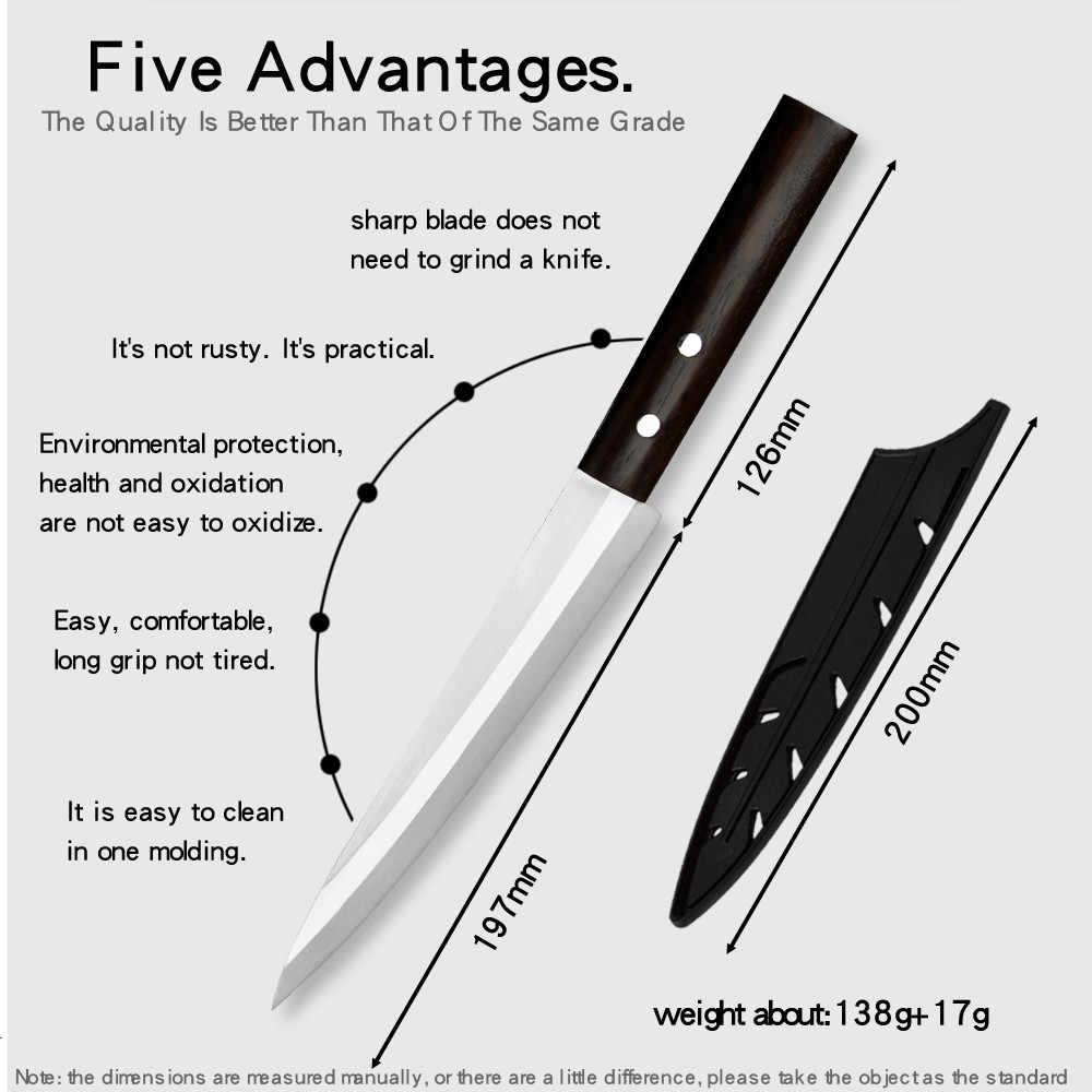Leworęczny nóż Sashimi nóż łosoś ze stali nierdzewnej kuchnia 8 Cal japońskie sushi nóż filet tasak do mięsa narzędzie do gotowania