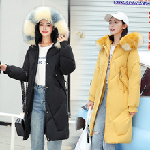 new Large Fur Down Jacket Winter Women 2020 New Fashion Loose Hooded Cotton Padded Jacket Coat Female Thick Long Parkas Outwear цена 2017