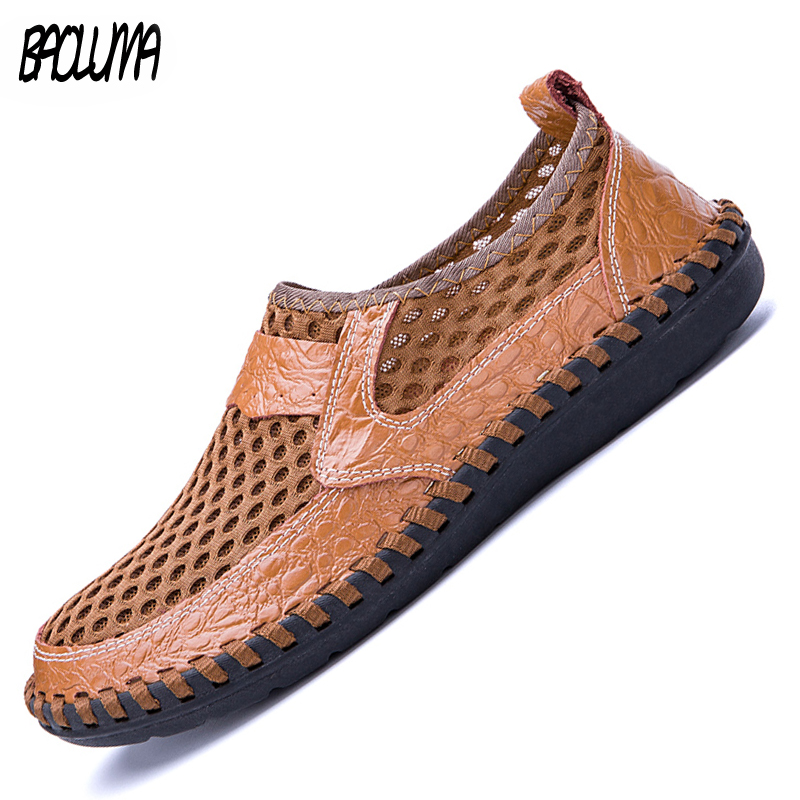 Men's Casual Shoes Men Leather Loafers Flat Handmade Outdoor Breathable Moccasins Designer Shoes Comfortable Sneakers Size 38.50