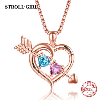 Strollgirl 925 Sterling Silver Personalized Two Heart Necklace Customized Birthstones Names Pendant Chain for Women Jewelry Gift