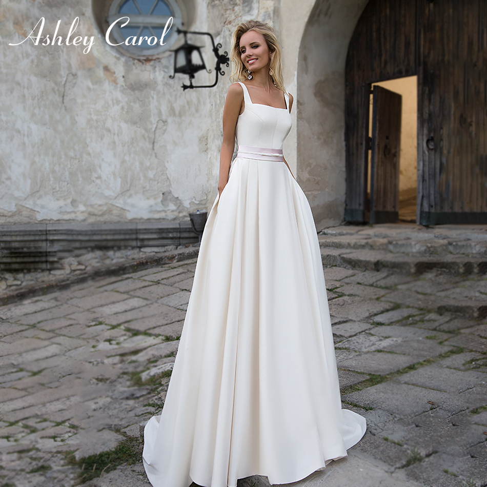 Ashley Carol Bow Satin Simple Wedding Dress 2019 Vintage Square Collar Backless Spaghetti Straps Wedding Gowns Vestido De Noiva