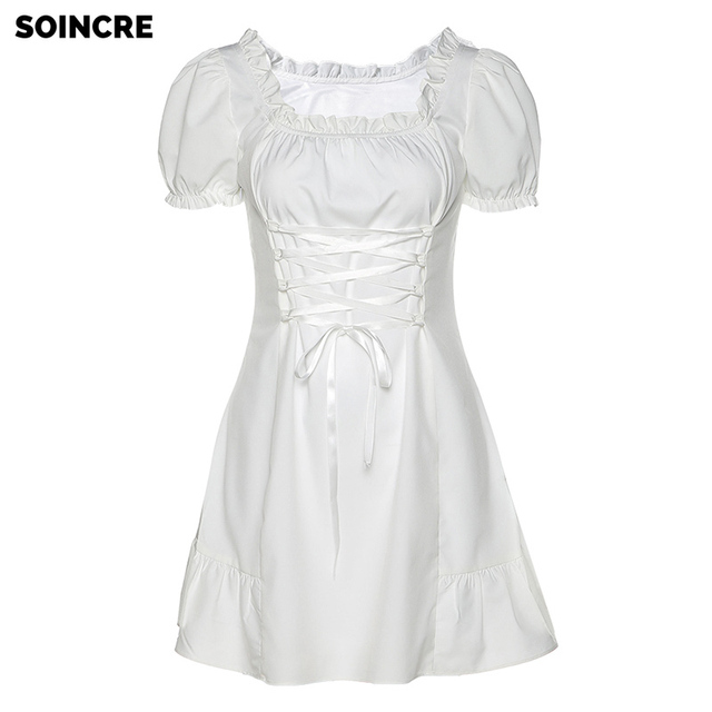 Summer Women's New Style Square Neck Puff Sleeve Slim Dress with Wooden Ears,fashion elegant bow  female mini dress summer part 5
