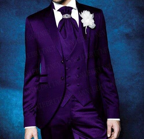 ANNIEBRITNEY Shiny Purple Men Suits Sets 2019 Wedding Prom Formal Groom Tuxedo Plus Size Slim Fit Blazer Vest Pants 3 Pieces