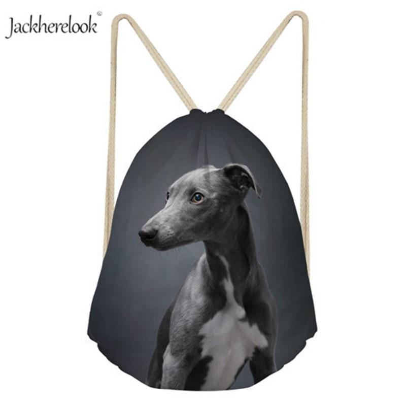 Jackherelook Unisex 3D Dark Black Dog Pattern Drawstring Bag Cute Grey Italian Greyhound Design Backpack Lively Pet Storage Sack